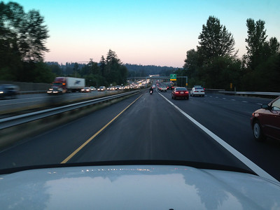 Driving north in early morning weekday traffic